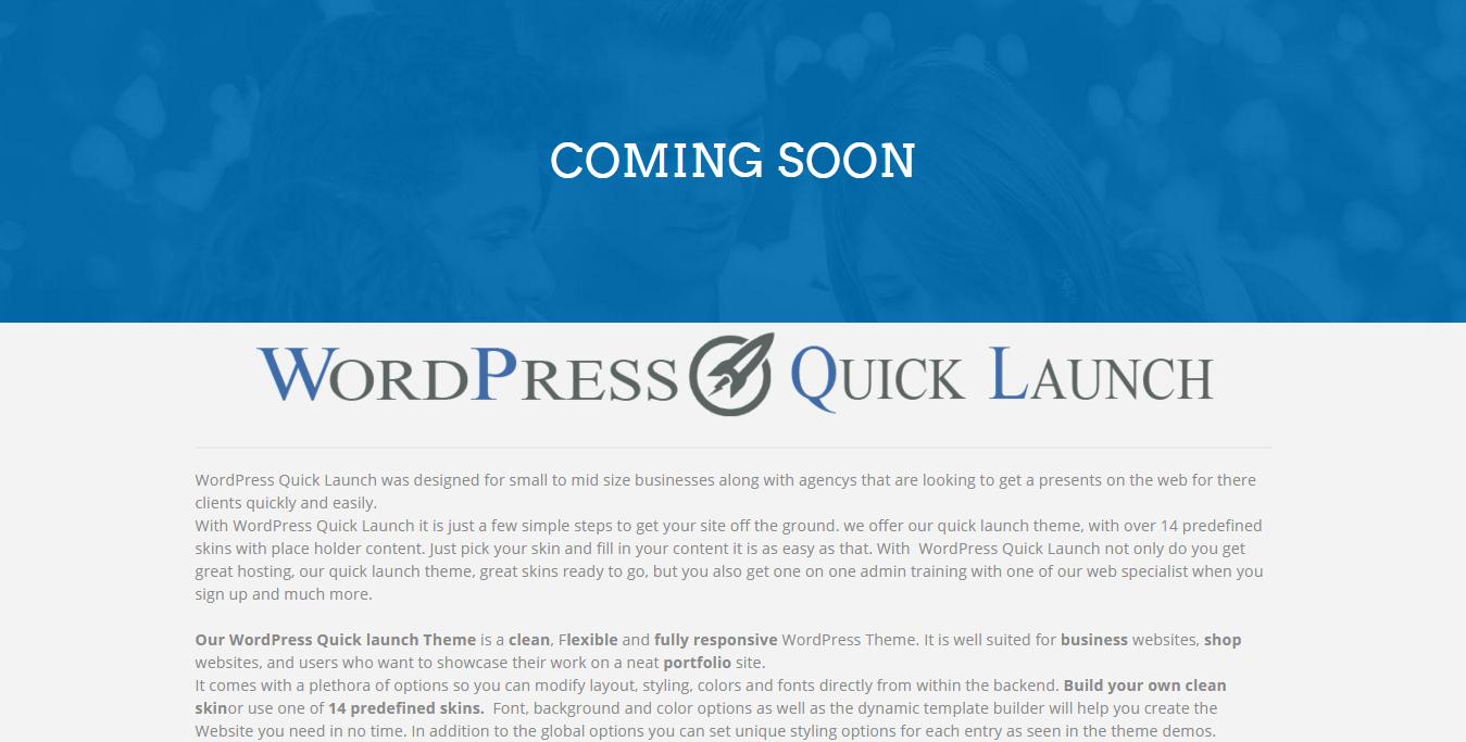 WordPress Quick Launch   Coming Soon
