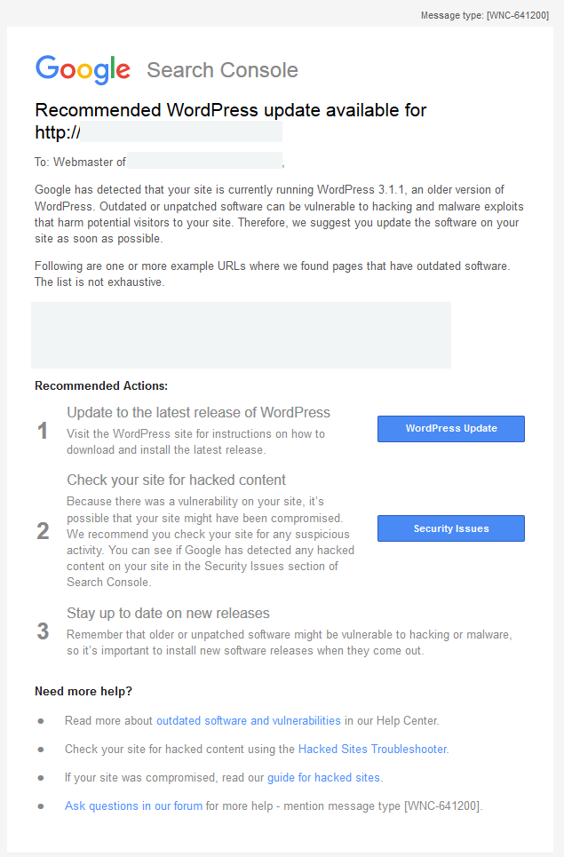 gsc-wordpress-update